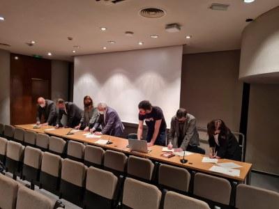 Signatura del conveni amb la Diputació de Barcelona.