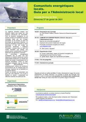Jornada tècnica en línia 'Comunitats energètiques locals. Guia per a l'Administració Local'.