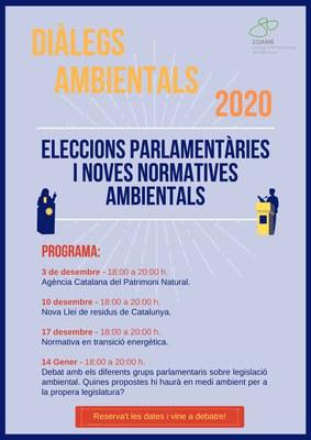 """Nova edició del cicle """"Diàlegs ambientals: Eleccions parlamentàries i noves normatives ambientals""""."""