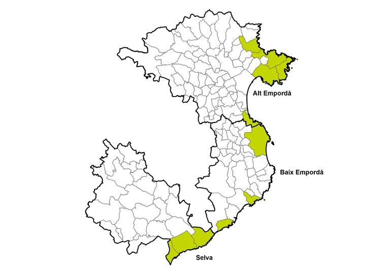 mapa Associació Grup d'Acció Local Pesquer Costa Brava.