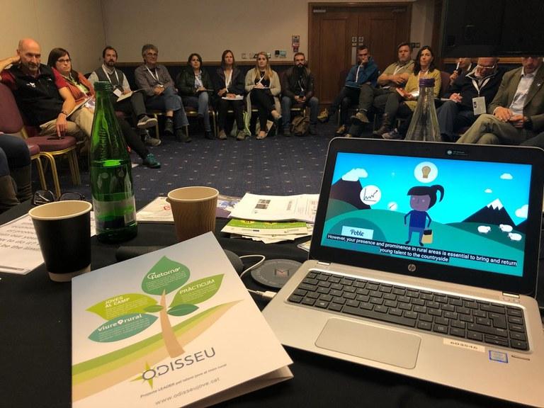Presentació del projecte Odisseu en un taller d'experiències europees sobre la capacitat de les  zones rurals per a retenir el talent jove, en el marc  del congrés anual d'EUROPARC que va tenir lloc al Parc Nacional Cairngorms d'Escòcia del 18 al 21de setembre de 2018 (Consorci GAL Alt Urgell - Cerdanya)