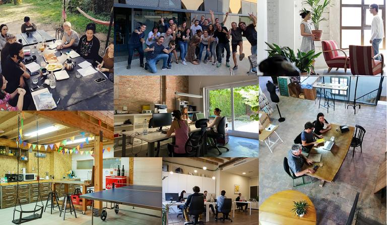 Composició d'imatges dels espais de coworking PECT BCN Smart Rural.