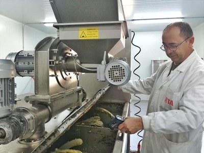 Personal tècnic de l'IRTA Mas Bové assessorant a l'empresa Oli Migjorn en el marc dels Cupons d'Innovació BCN Smart Rural. Imatge cedida per: Oli Migjorn.